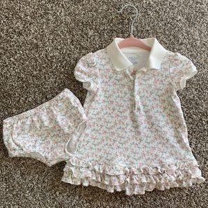 Ralph Lauren Baby Girl Short Sleeve Floral Dress and Bloomer Set